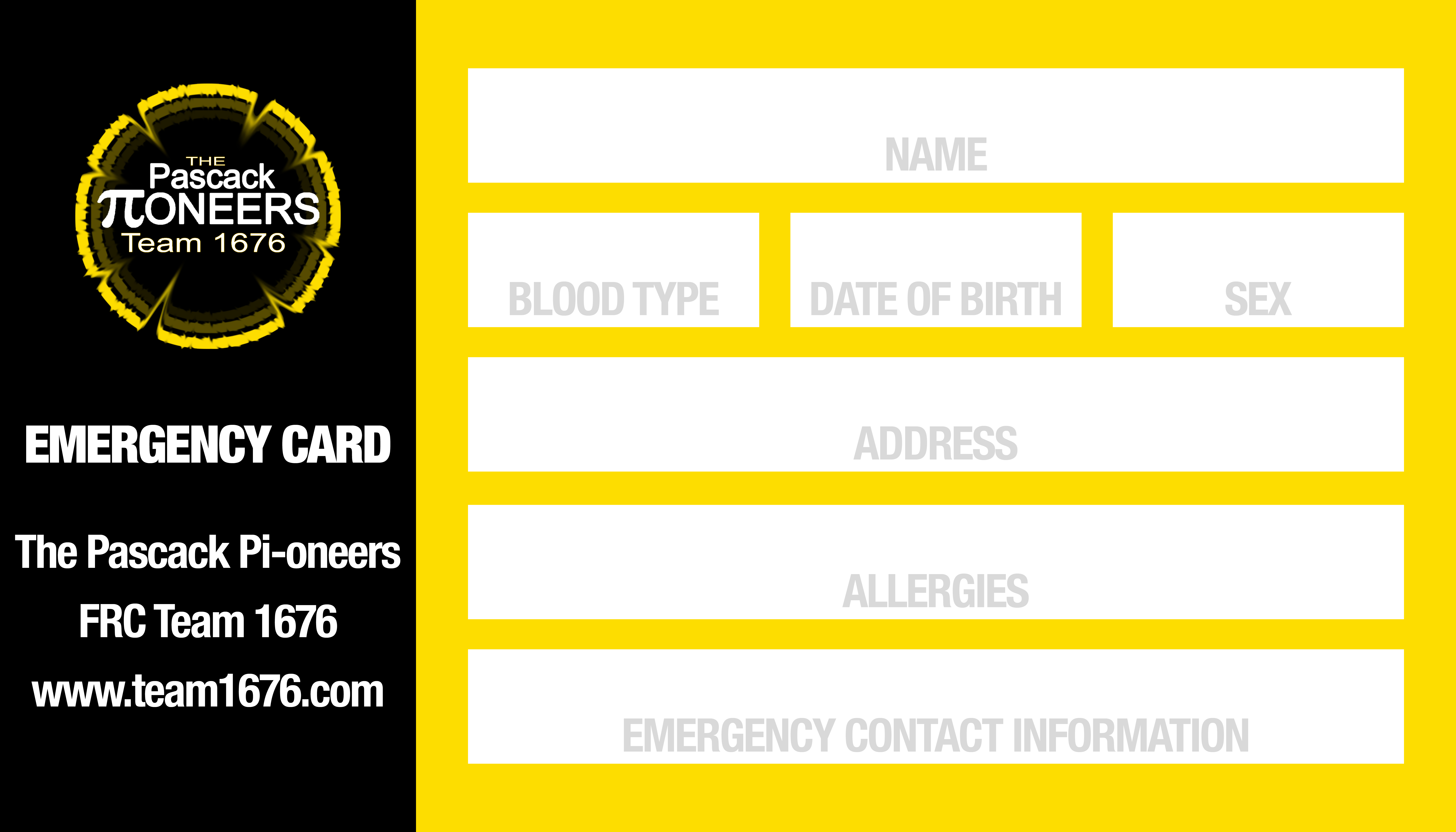 personal emergency cards